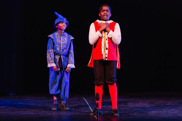 Simon Bamingbade and Seth Mangundu from St Joseph's Junior School perform at a fundraising gala in aid of Shakespeare Schools Foundation.